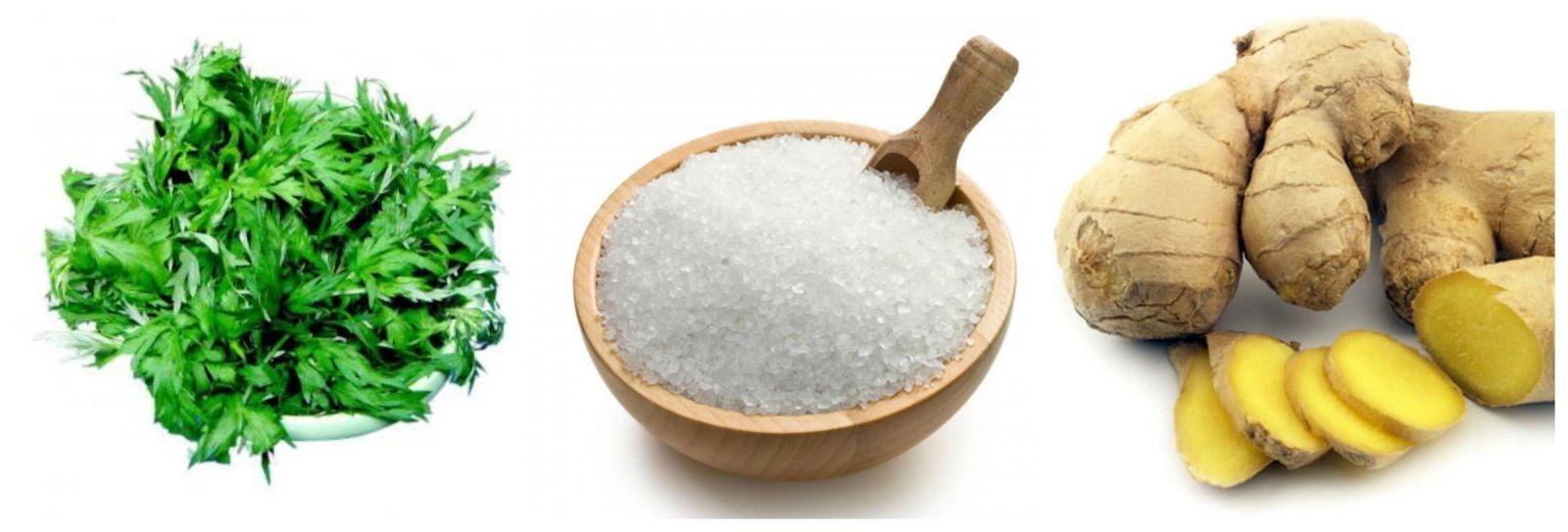 Ngải cứu – muối – gừng là những thành phần được sử dụng cho việc giảm béo bụng cho mẹ bằng muối